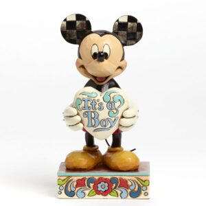 Mickey Mouse figurine with It's a Boy sign