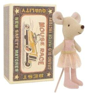 Maileg Little Sister Pink Star Mouse in Box
