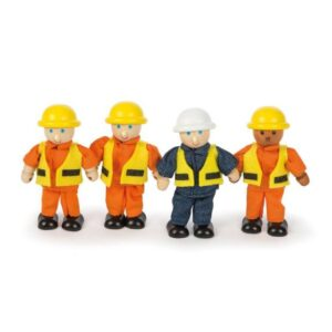 wooden toy construction workers