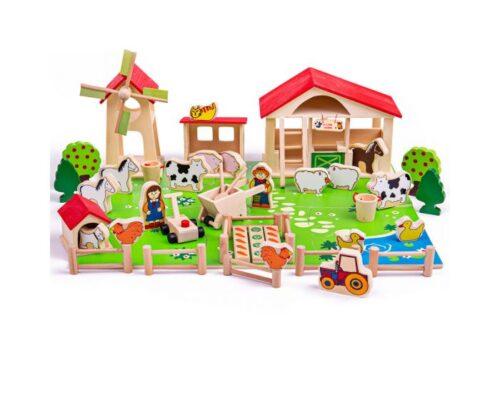 wooden toy play farm