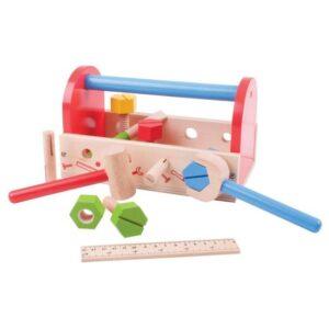 child's wooden tool box